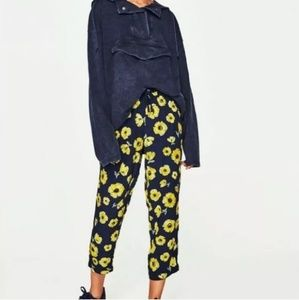 Zara Floral Joggers Pull On Ankle Pants 7385/082